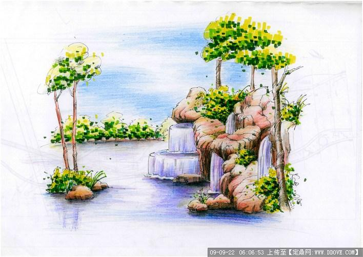 园林景观手绘节点效果图