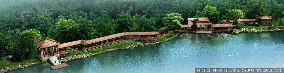 定鼎网 定鼎园林 园林方案设计 滨水景观 亲水长廊cad施工图和彩色