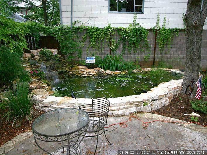 景观照片鱼池实景庭院五图间外观房别墅图片
