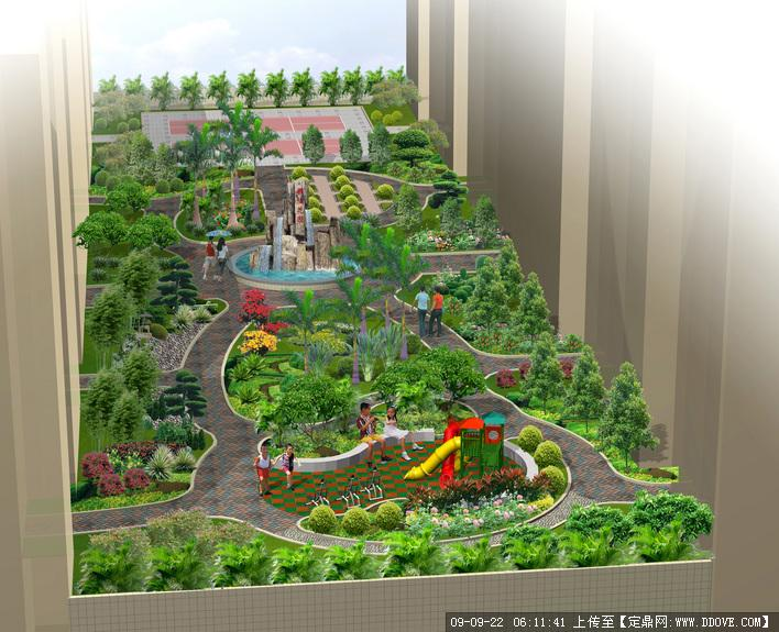 住宅小区中心景观带绿化效果图()