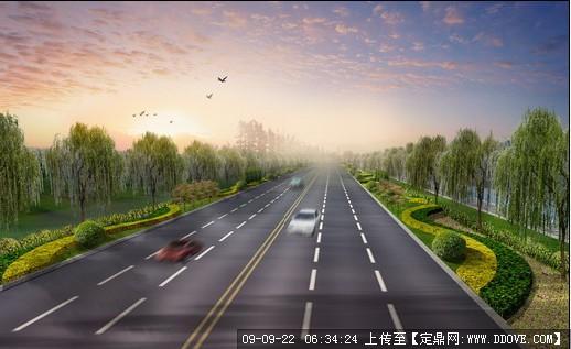 道路景观绿化设计效果图