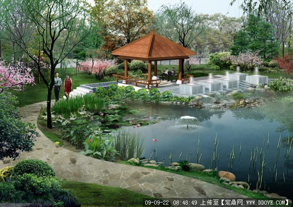人工湖边休闲景亭及喷泉效果图的下载地址,园林效 果