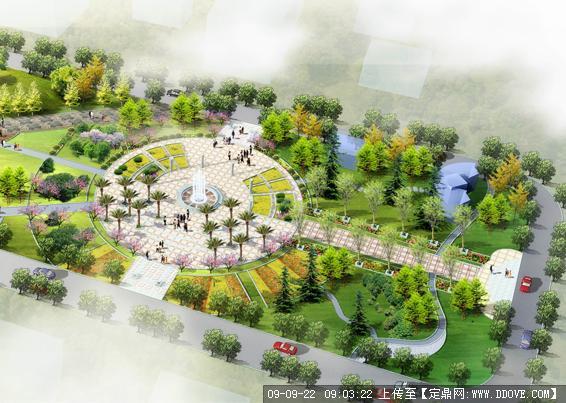 公園休閑廣場景觀設計方案鳥瞰效果圖