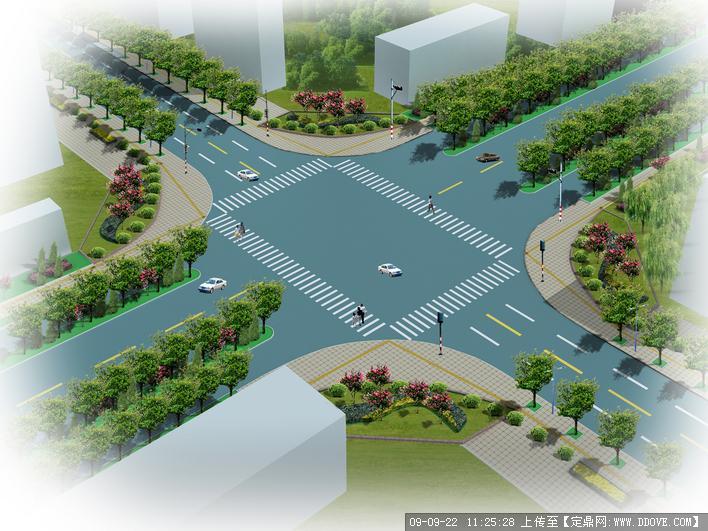 道路绿化交叉口景观效果图