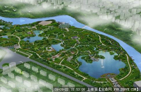 大型生态公园景观规划设计方案鸟瞰效果图图片