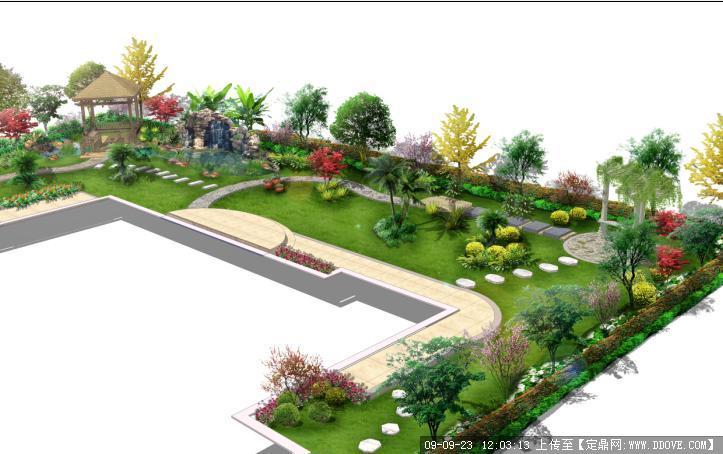 人别墅庭院花园景观设计方案鸟瞰效果图
