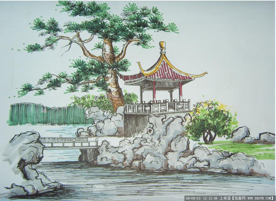 苏州园林手绘景观效果图