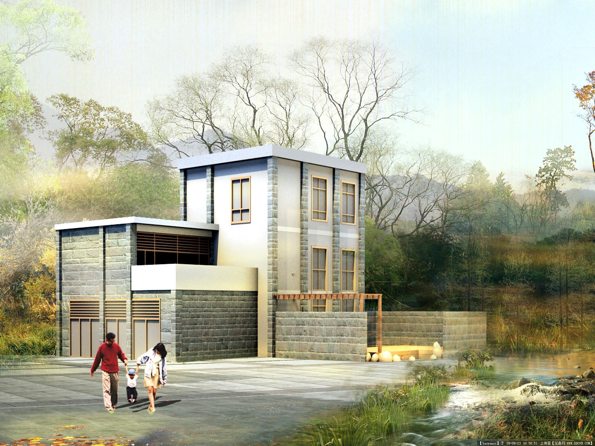 别墅庭院平面效果图 建筑效果图