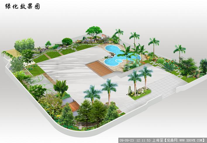 别墅庭院绿化方案鸟瞰效果图