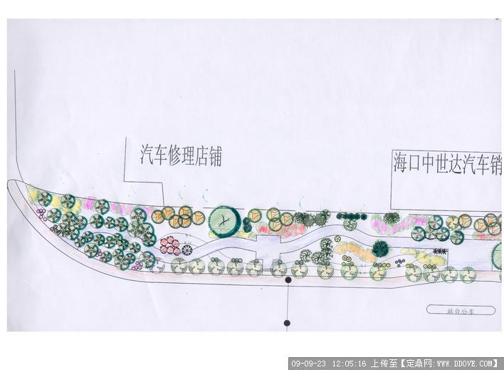 道路街边绿地绿化方案手绘效果图