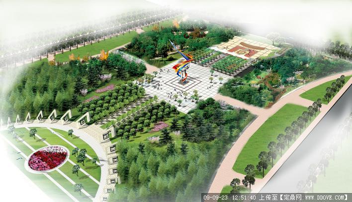 我国北方某县政府广场景观方案鸟瞰图图片
