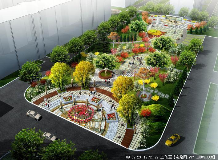 居住区中心休闲景观广场绿化方案鸟瞰效果图