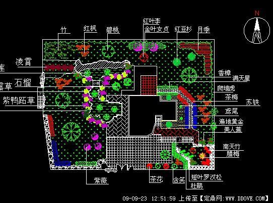 某别墅住宅私家庭院景观绿化方案CAD施工图