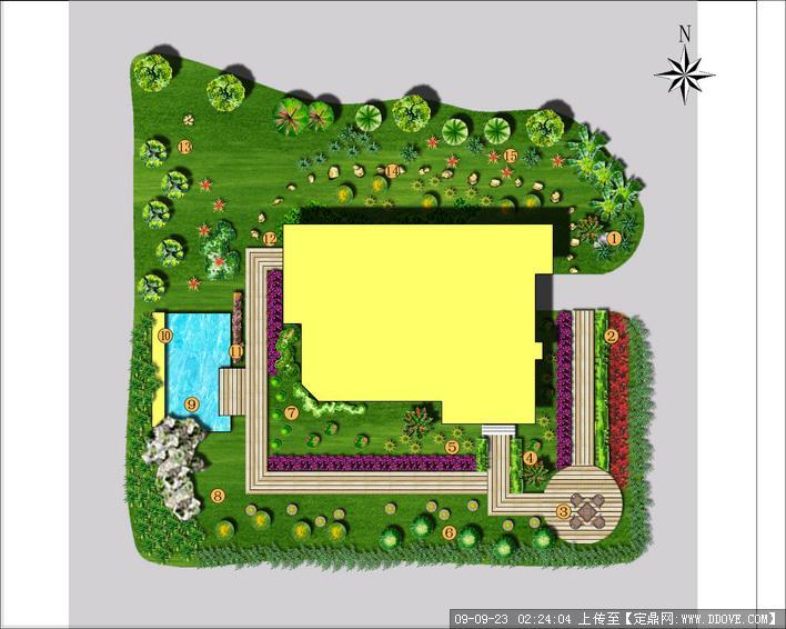 别墅小庭院绿化改造设计方案