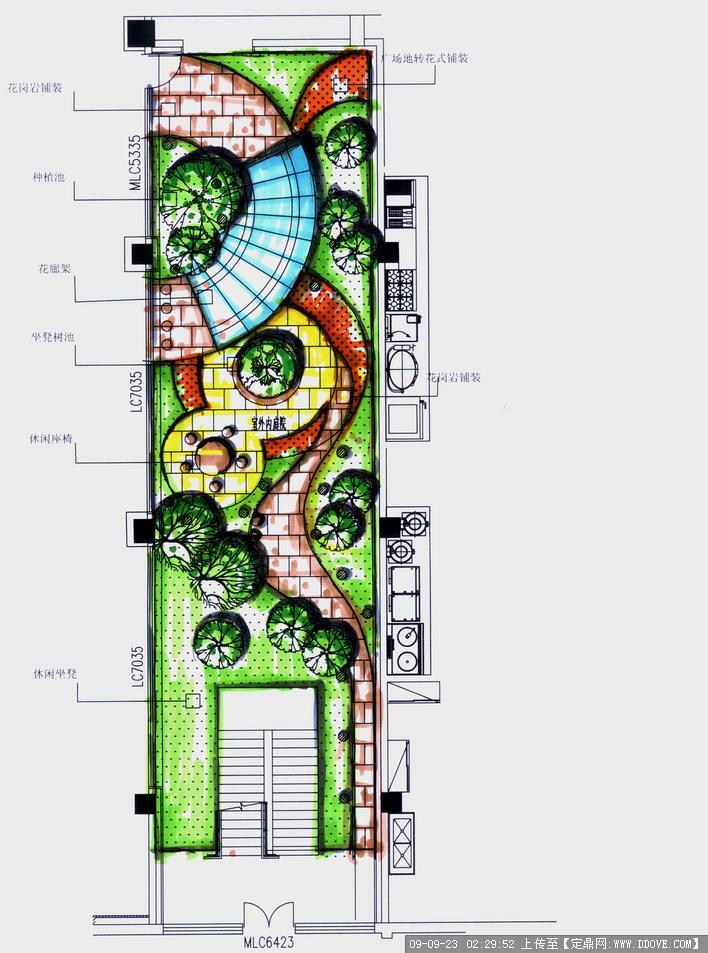 四份楼间及屋顶花园庭院方案图