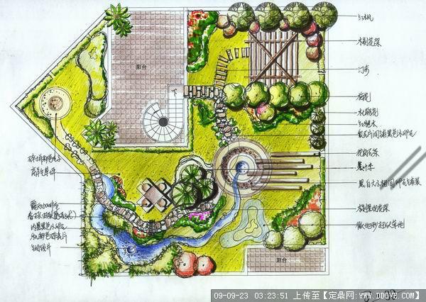 建筑手绘表现之庭院景观方案平面效果图