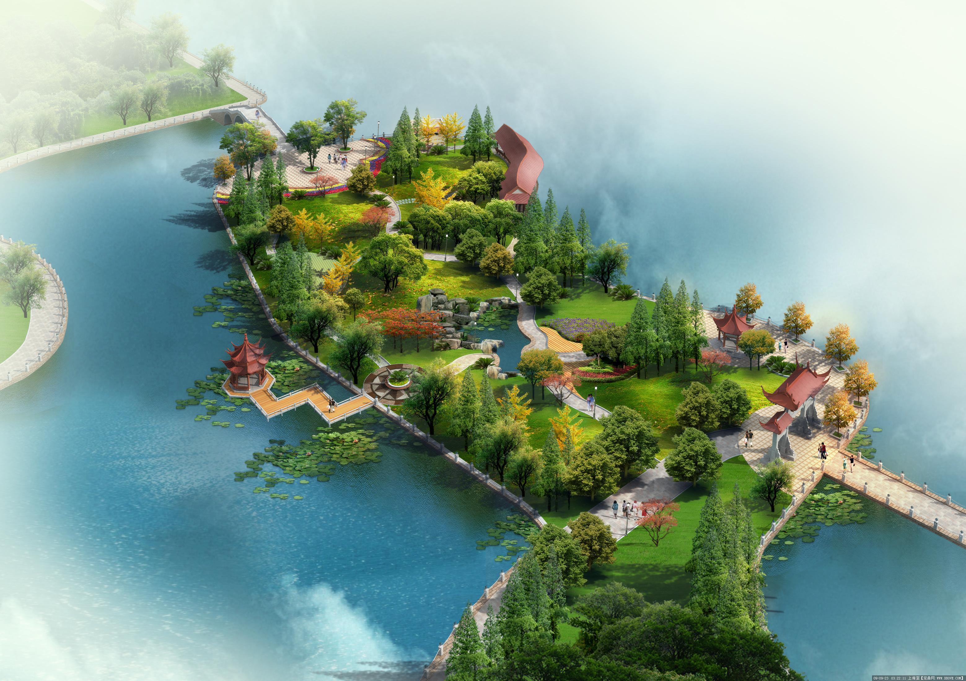 新农村公园景观规划方案鸟瞰效果图