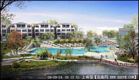 高档小区游泳池景观效果图