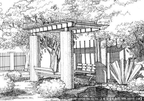 花架景观手绘的下载地址,园林效 果图,手绘效果,园林景观设计施工