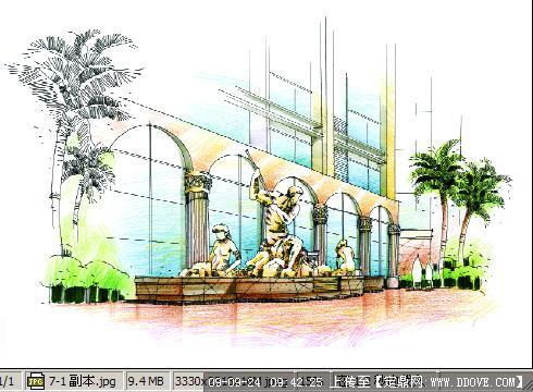 商业广场景观手绘效果图