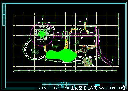 小广场铺砖定线图cad详图