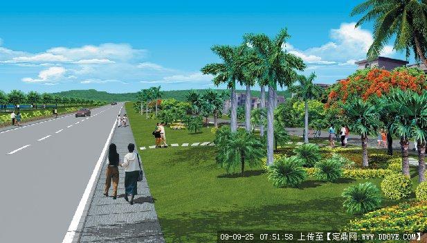 某道路景观绿化设计效果图