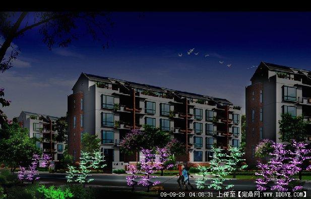 小区夜景效果图的下载地址,园林效 果图,居住区,园林