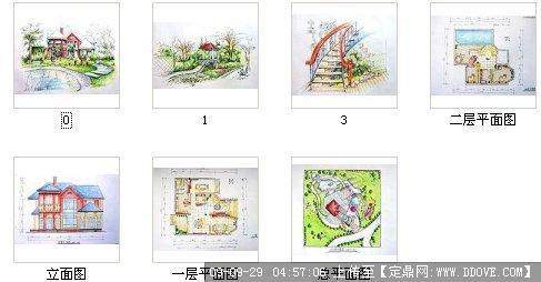 街头-一套别墅效果图; 手绘立面图  (200x104); 别墅-平面图