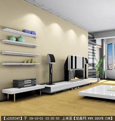 定鼎室内 室内效 果图 住宅样板 精品客厅室内装修电视背景墙效果图