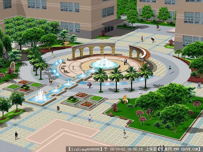 居住小区主景观广场鸟瞰效果图