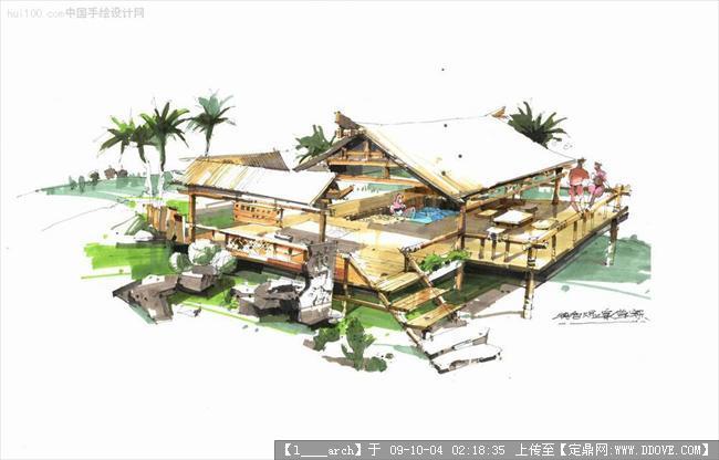 别墅建筑景观手绘效果图