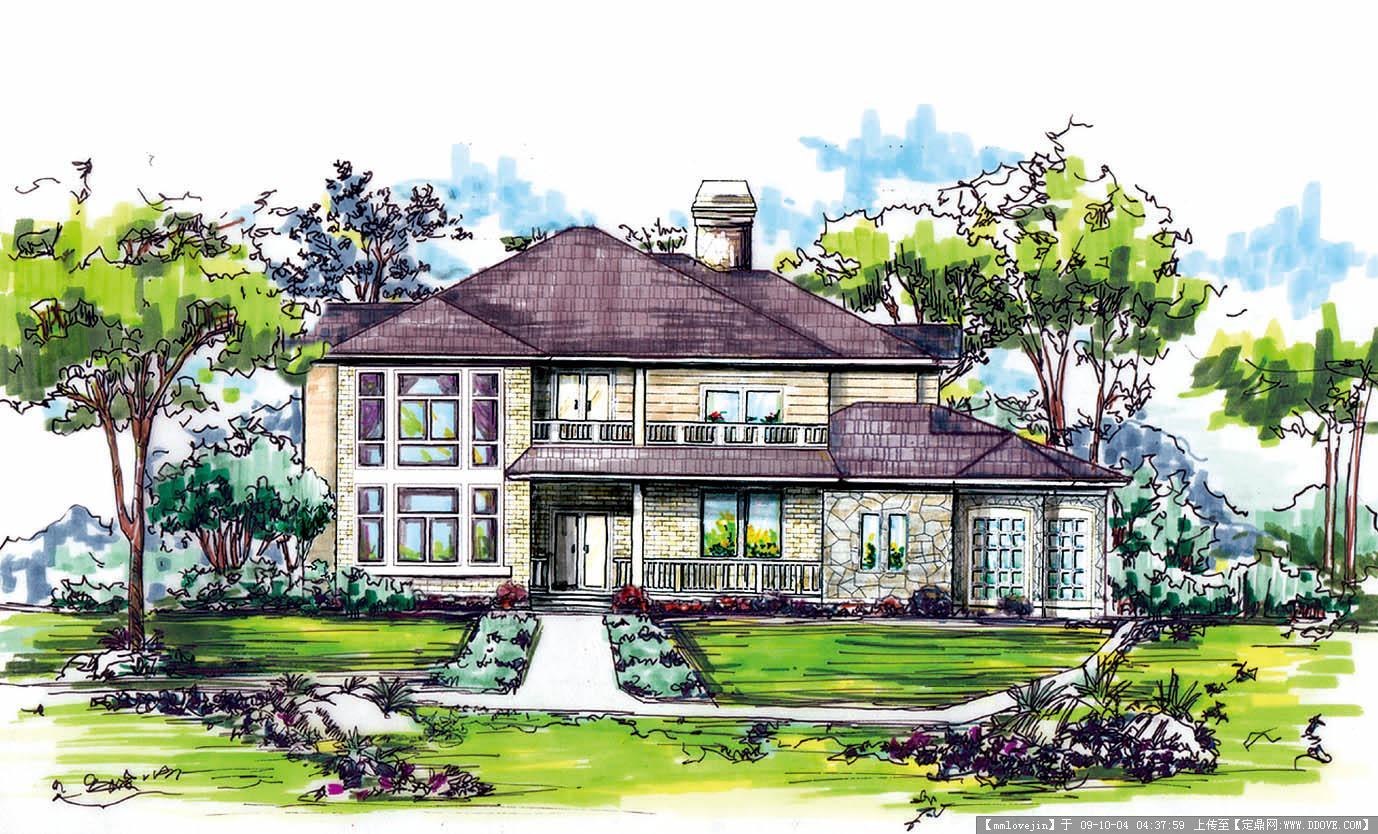 手绘风景 手绘建筑; >建筑设计水彩画效果图