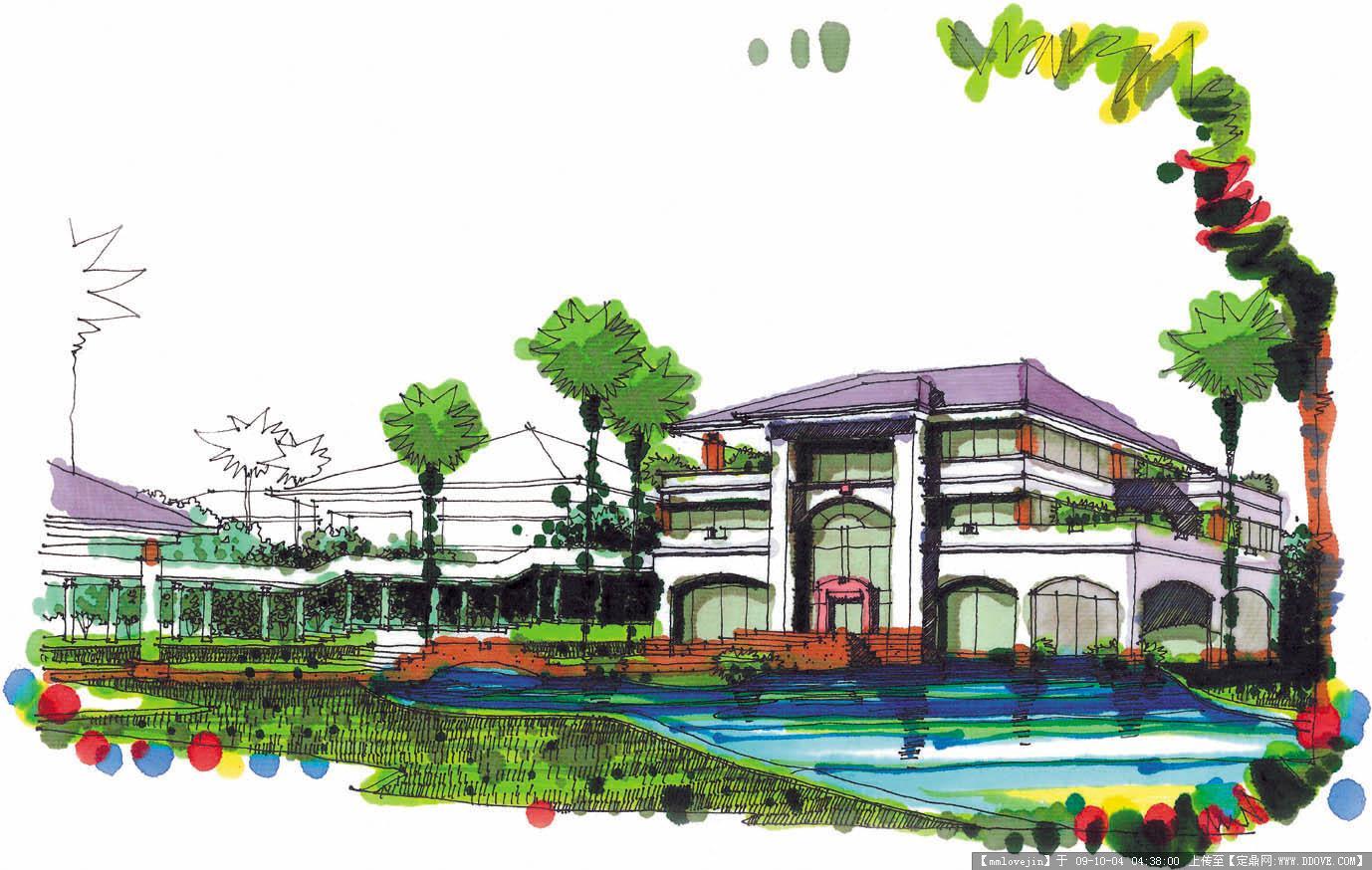 马克笔建筑手绘图_马克笔手绘图_马克笔产品手; 建筑设计水彩画效果