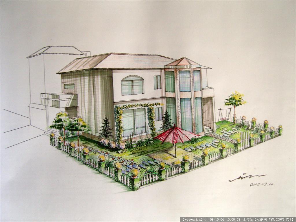 别墅后花园景观方案手绘效果图的下载地址,园林效 果
