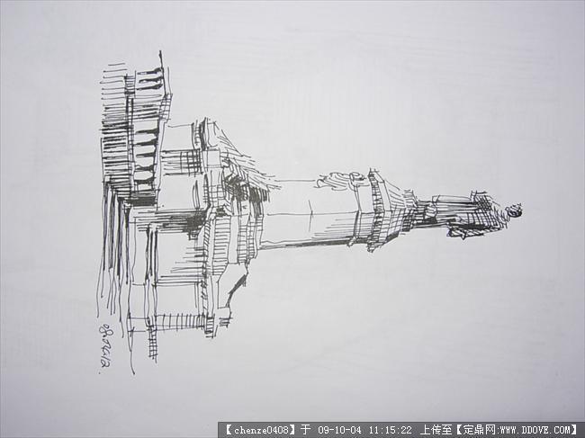 铅笔画欧式建筑简单