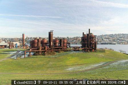 西雅图煤气厂照片(旧厂v照片)别墅公园16张的图双车位图纸实景平顶最美带图片