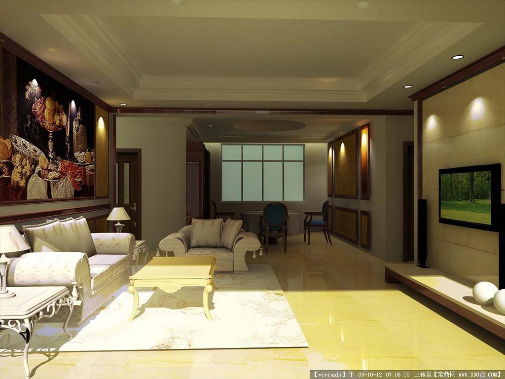欧式风格室内装修效果图方案3dmax场景模型带材质