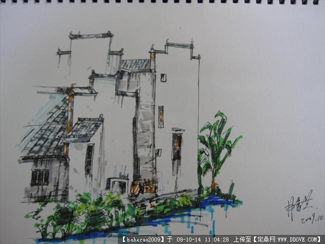 我的手绘马克效果图的下载地址,园林效 果图,手绘效果