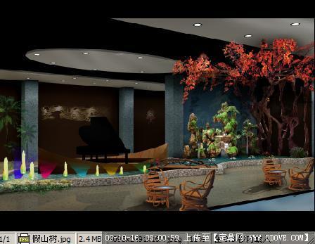 室内假山和假树喷泉效果图