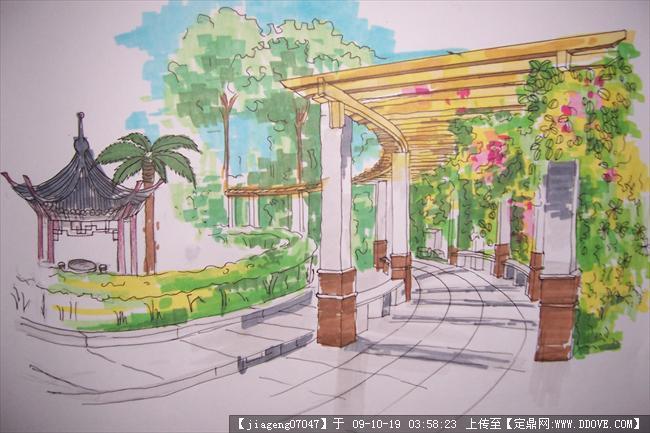 长廊景观亭小景手绘效果的下载地址,建筑效 果图,其他