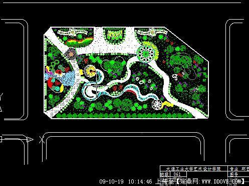 大连某校园小游园景观设计方案总平面图
