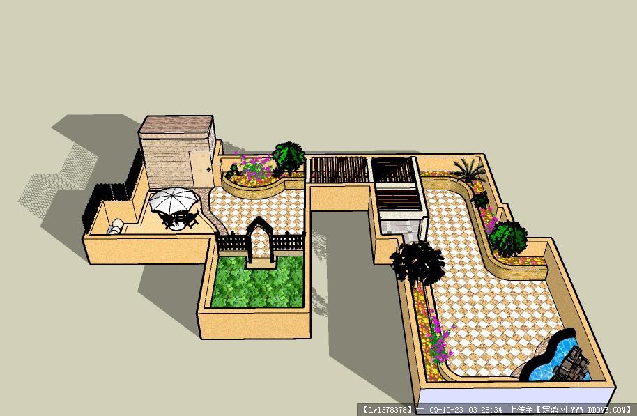 某跃层别墅屋顶花园su模型