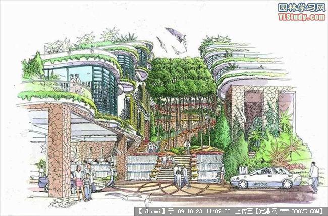 一些不错的景观手绘的下载地址,园林效 果图,手绘效果