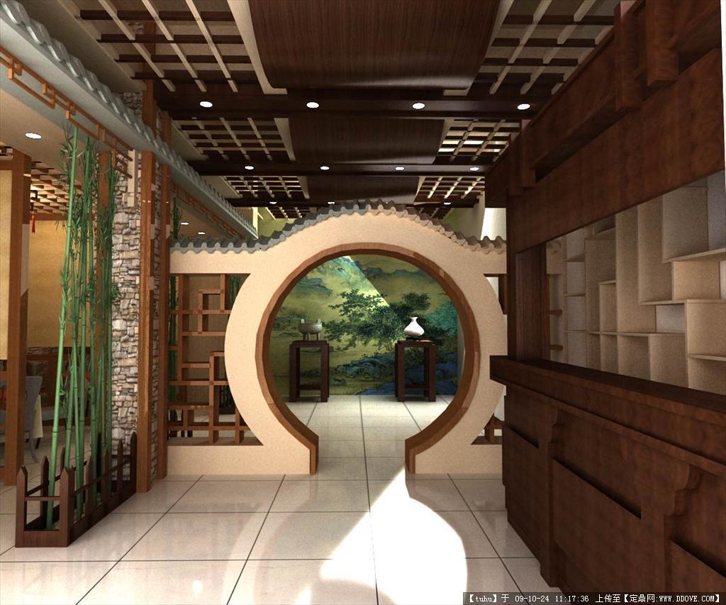 中式饭店室内装饰效果图