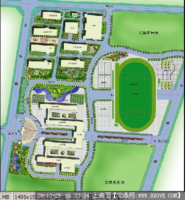 某中学校园园林绿化彩平图
