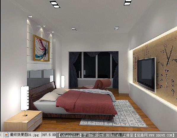 卧室室内装饰方案施工图+3dmax模型+效果图全套资料图片