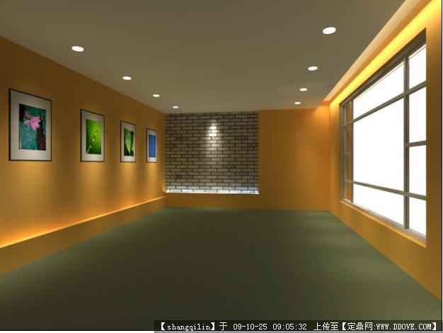 画廊室内装饰3dmax模型带贴图材质图片