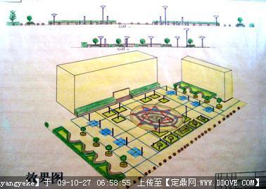 图书馆广场景观手绘方案