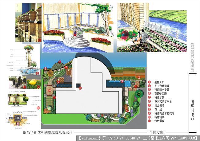 别墅庭院景观平面方案图纸