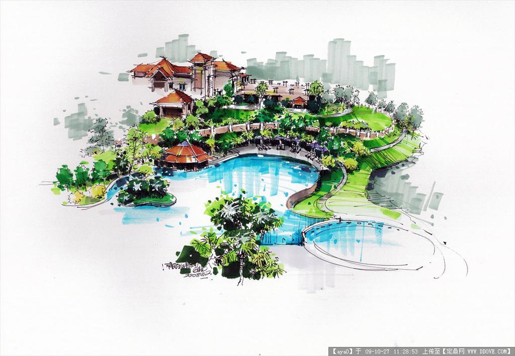 建筑手绘马克笔表现效果图
